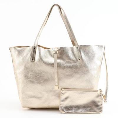 Tiffany & Co. Reversible Tote and Pochette in Metallic Gold Leather
