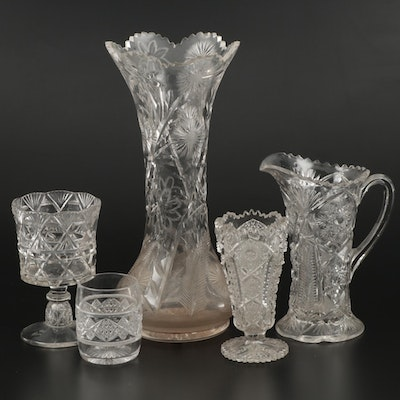 American Cut Glass Vases, Pitcher, Goblet, and Cup, Early to Mid 20th Century