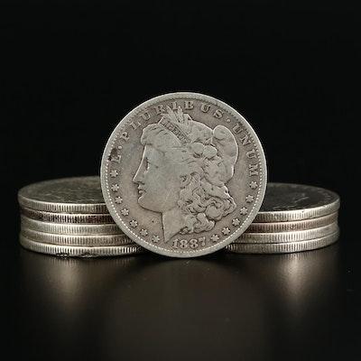 Ten Circulated Morgan Silver Dollars, 1880 to 1900