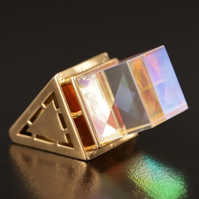 18K Aurora Borealis Glass Geometric Ring