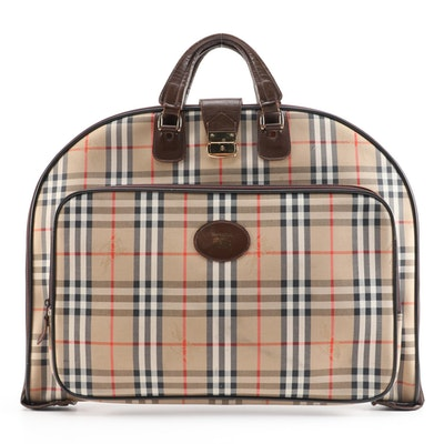 "Burberry ""Haymarket Canvas"" and Brown Leather Garment Bag"