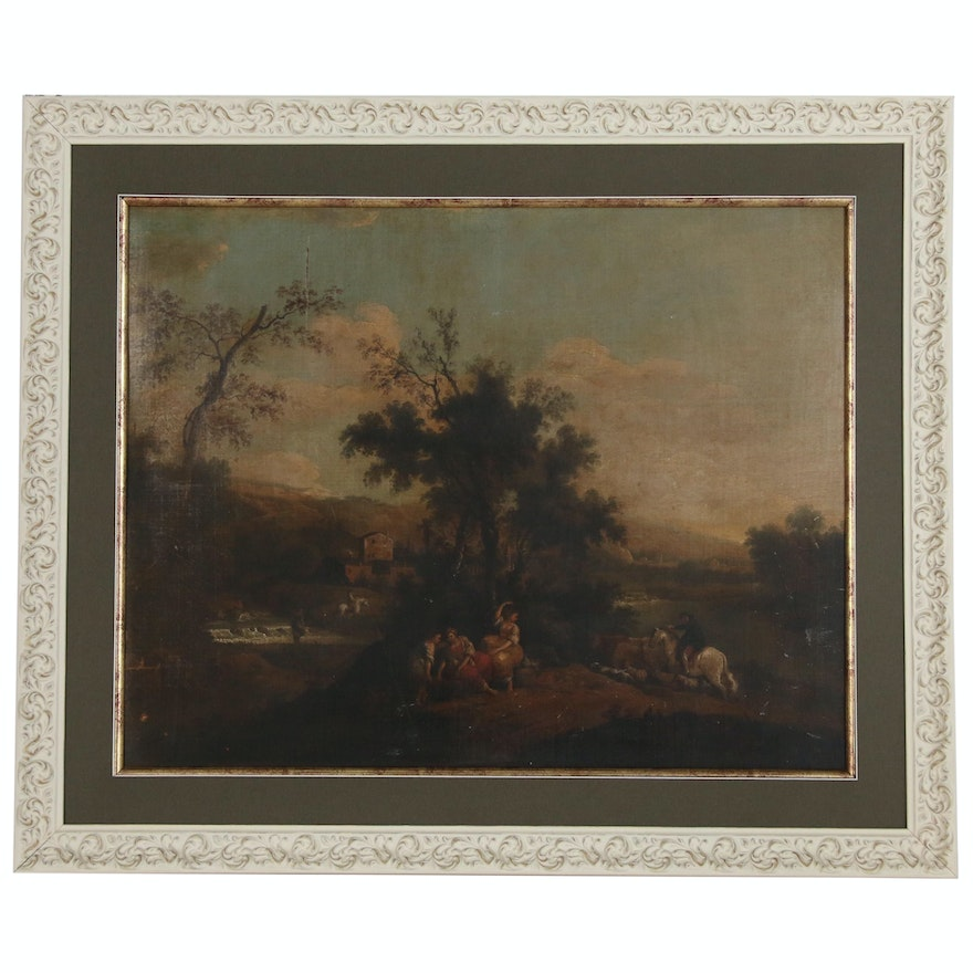 English School Romantic Landscape with Figures Oil Painting