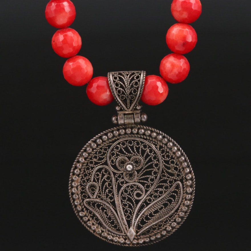 Sterling Silver Coral and Filigree Necklace