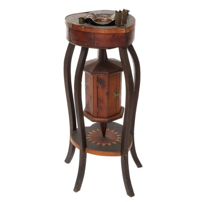 Folk Art Wood and Hammered Copper Smoking Stand, Early 20th Century