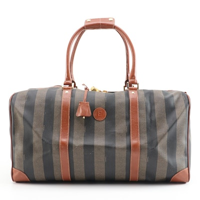 Fendi Pequin Striped Coated Canvas and Cognac Leather Duffel