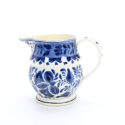 Blue and White Hand-Painted Ceramic Pitcher