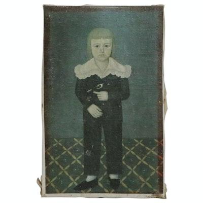 "Offset Lithograph Folk Portrait after John Brewster, Jr. ""Boy with Finch"""