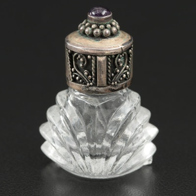 Cut Glass Snuff Bottle with 850 Silver and Amethyst Lid