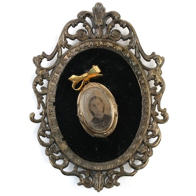 Tintype Portrait Photograph in Brooch