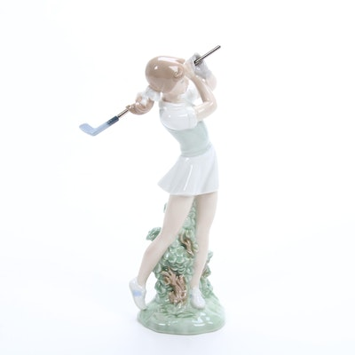 "Nao by Lladró ""Golfer Female"" Porcelain Figurine Designed by  Regino Torrijos"
