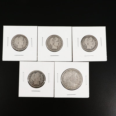 Four Barber Quarters and a Barber Half Dollar, All Silver