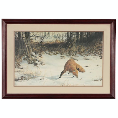 Offset Lithograph after Christopher Walden of Winter Landscape with Fox