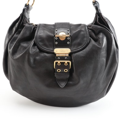 Miu Miu Black Grained Leather Buckle Flap Two-Way Hobo Bag