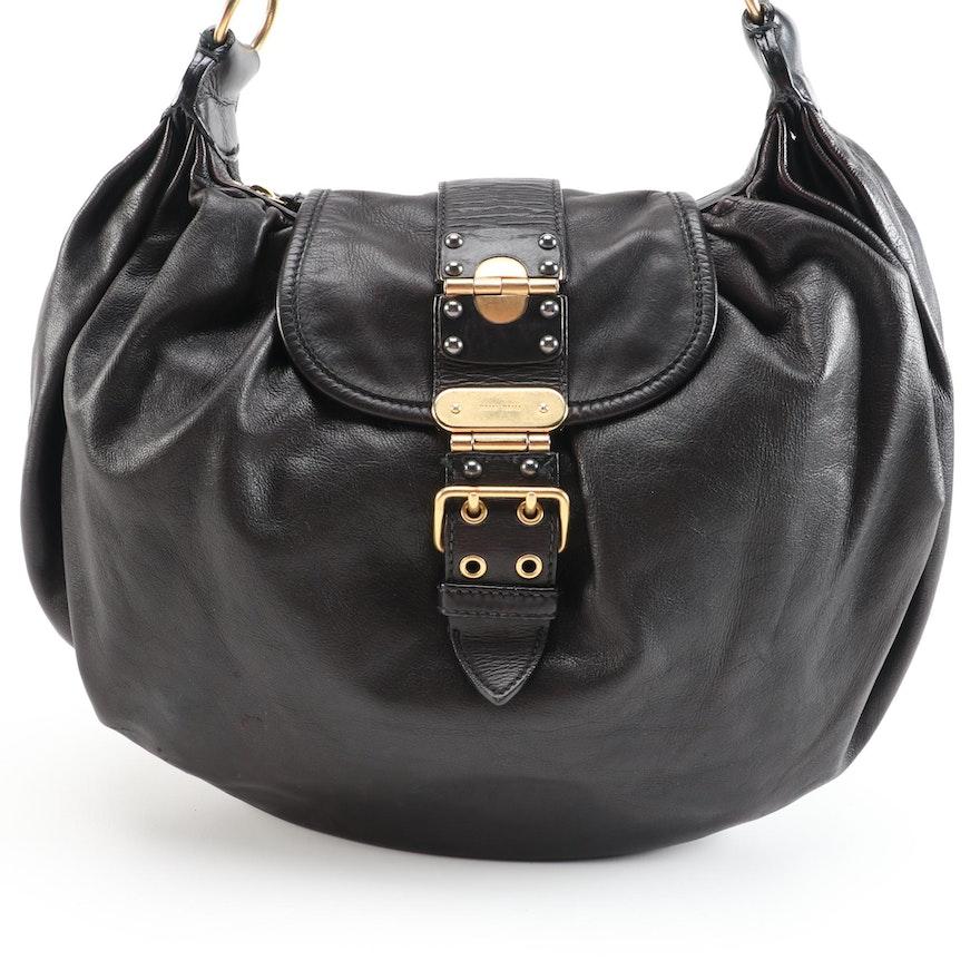 Miu Miu Black Grained Leather Buckle Flap Two-Way Hobo Bag