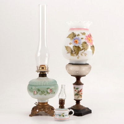 Hand-Painted Glass Oil Lamps and Electrified Oil Lamp