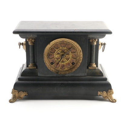 Ornate Wooden Mantel Clock with Key, Late 19th/Early 20th Century