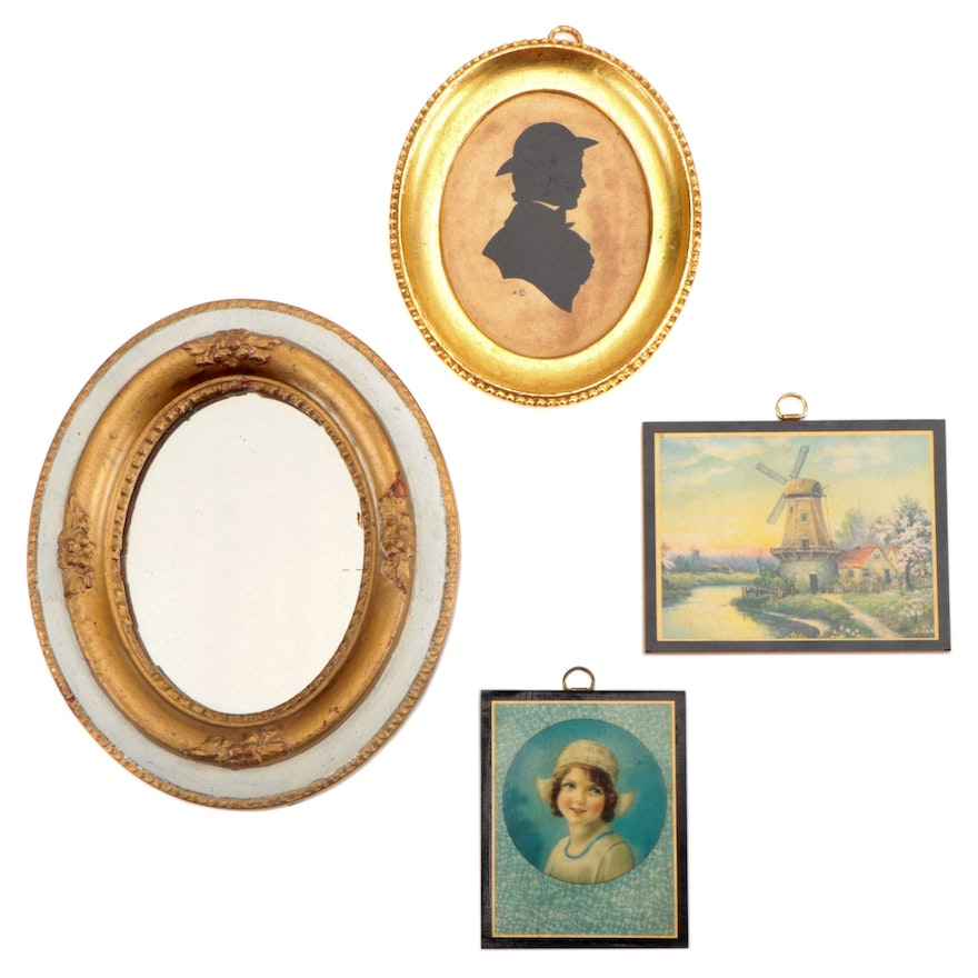 Decorative Offset Lithograph Plaques, Silhouette and Mirror