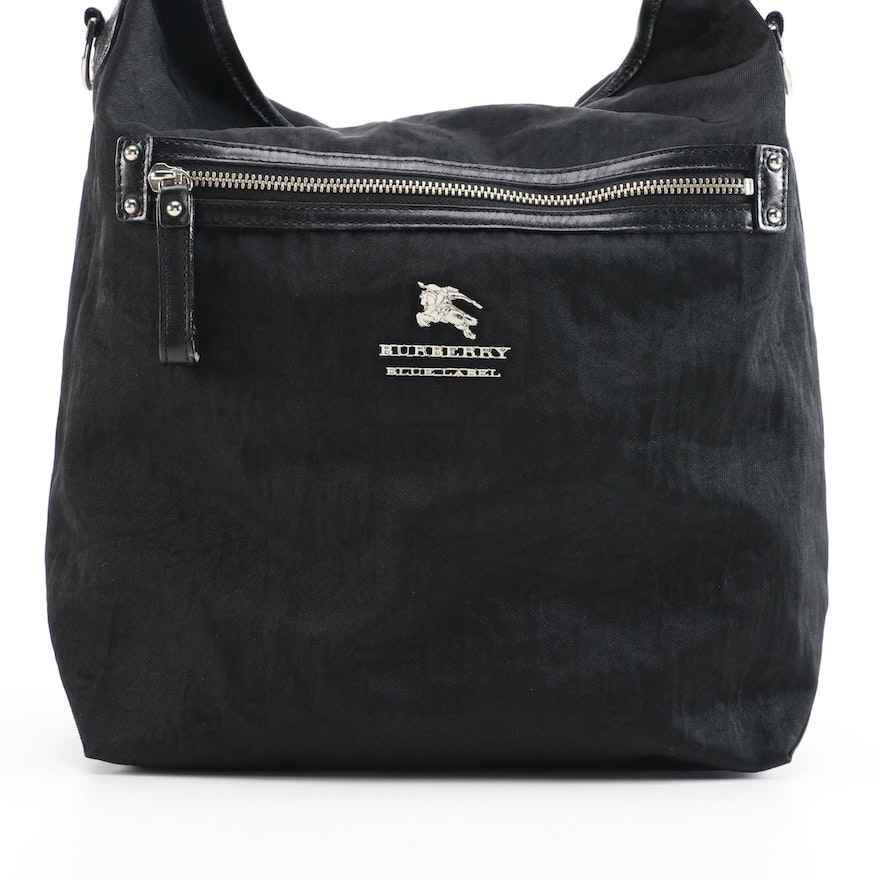 Burberry Blue Label Black Nylon Two-Way Bag with Leather Trim
