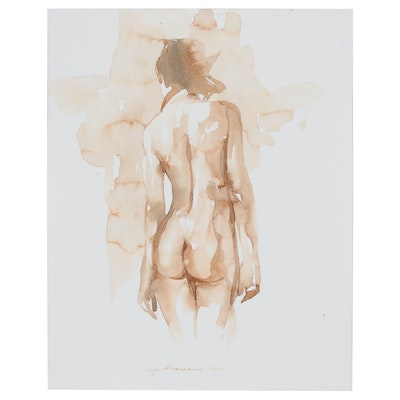 Inga Khanarina Watercolor Painting Female Nude, 2020