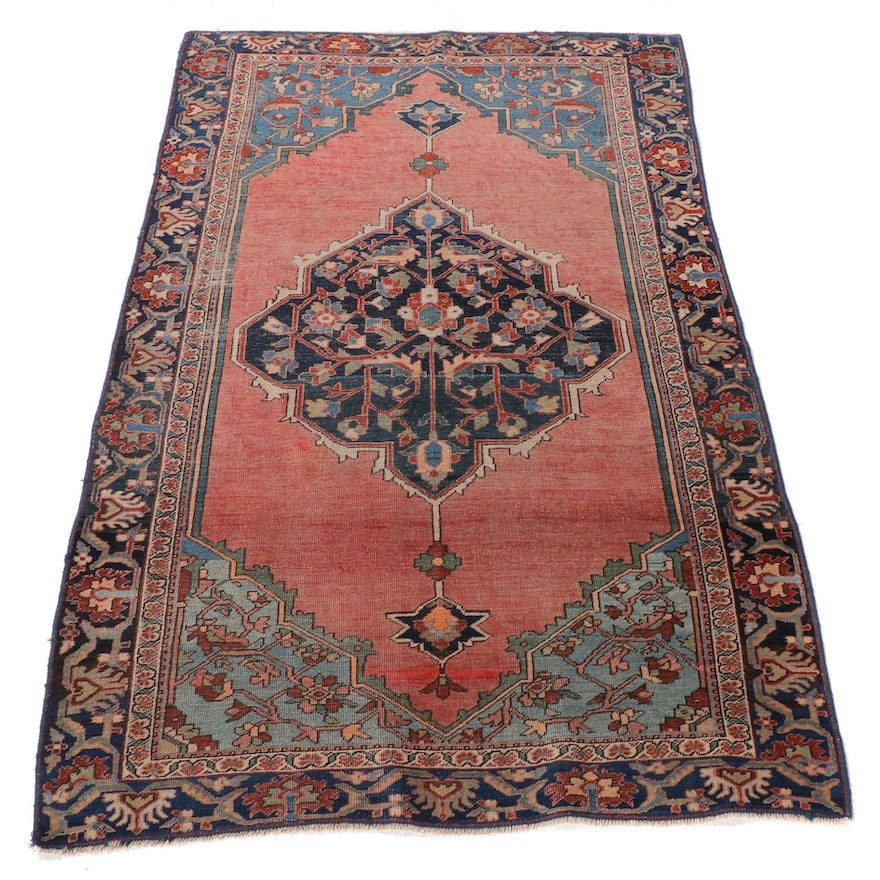 3'1 x 4'11 Hand-Knotted Persian Farahan Sarouk Wool Rug, Late 19th Century