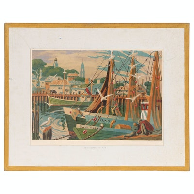 "Serigraph After Joseph Di Gemma ""Gloucester Harbor"""