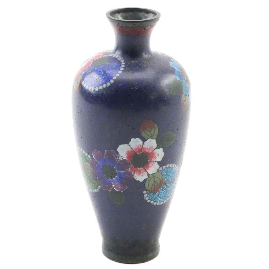 Japanese Aventurine Cloisonné Enamel Vase, Early 20th Century