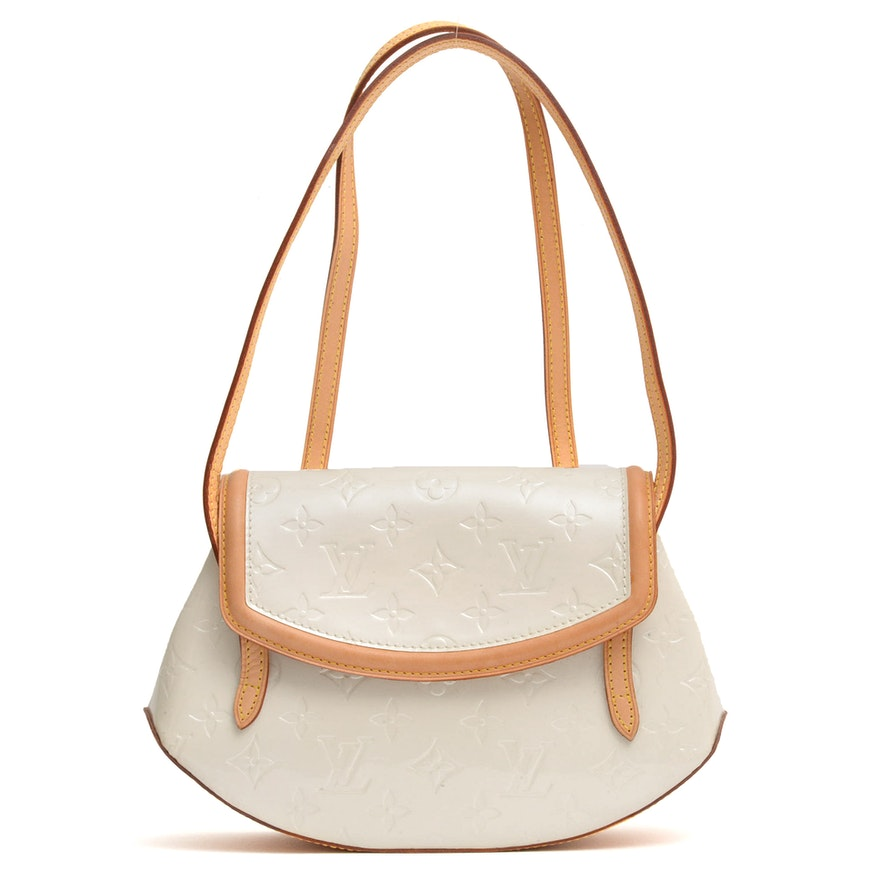 Louis Vuitton Biscayne Bay PM Bag in Perle Monogram Vernis and Vachetta Leather