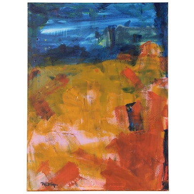 "Robbie Kemper Abstract Acrylic Painting ""Blue Wash Patch Over Blends"""