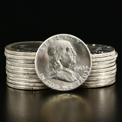 Twenty Uncirculated 1963 Franklin Silver Half Dollars