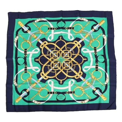 "Hermès Paris ""Eperon d'Or"" Silk Scarf"