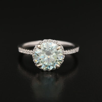 14K Moissanite and Diamond Halo Ring