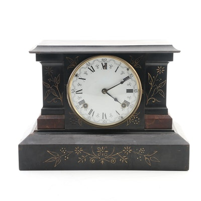 Ansonia Victorian Cast Iron Mantel Clock, Late 19th-Early 20th Century