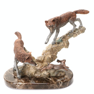 """Kitty Cantrell for Legends Cast Metal Sculpture """"Missed by a Hare"""", 1994"""