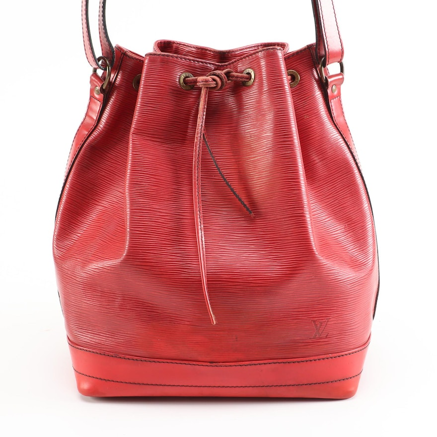 Refurbished Louis Vuitton Noé Bucket Bag in Red Epi Leather