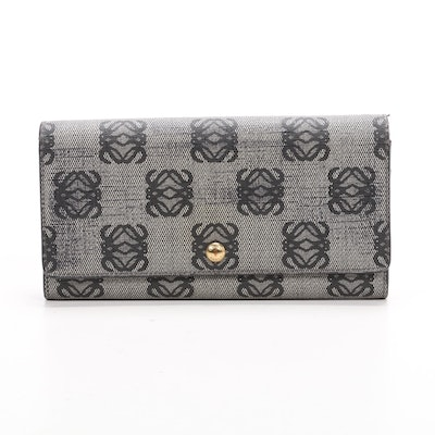LOEWE Continental Wallet in Logo Coated Canvas and Black Leather
