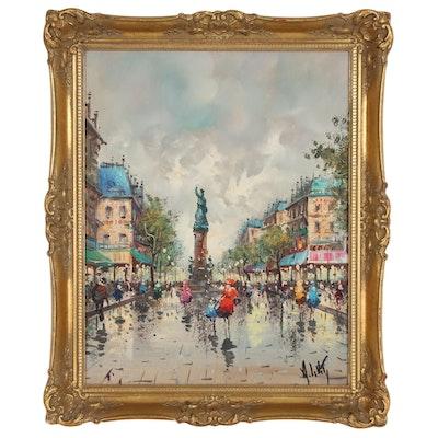 Andrea de Viti Parisian Street Scene Oil Painting