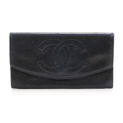 Chanel CC Flap Wallet in Navy Lambskin Leather