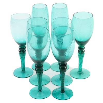 Teal Etched Grape Cluster Wine Glasses and Champagne Coupes with Swirl Stems