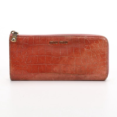Miu Miu Crocodile Embossed Leather Zip Wallet