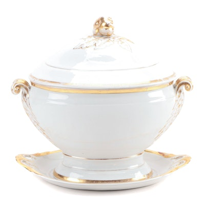 French Gilt Porcelain Tureen with Pumpkin Finial and Underplate, Late 19th C.