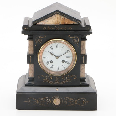 Japy Frères Slate and Marble Mantel Clock, Late 19th Century