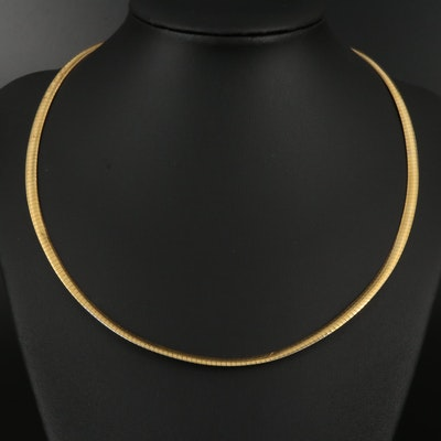 14K Gold Reversible Omega Necklace