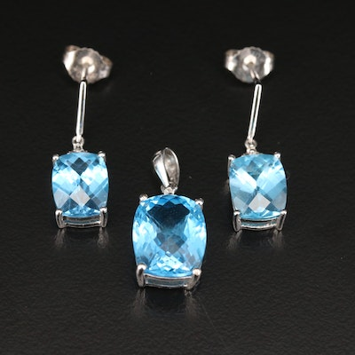 10K Blue Topaz and Diamond Pendant and Earrings