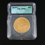 ICG Graded VF35 1875-S Liberty Head $20 Gold Double Eagle