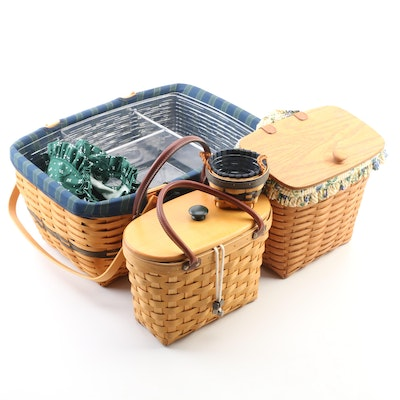 Longaberger Handwoven Picnic and Other Baskets with Liners