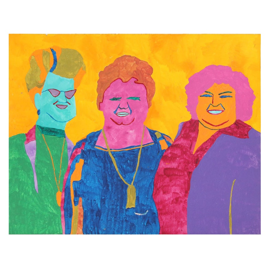Robert W. Hasselhoff Abstract Acrylic Portrait of Three Figures
