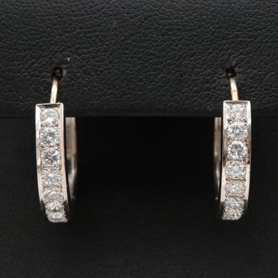 14K 1.30 CTW Diamond Hoop Earrings