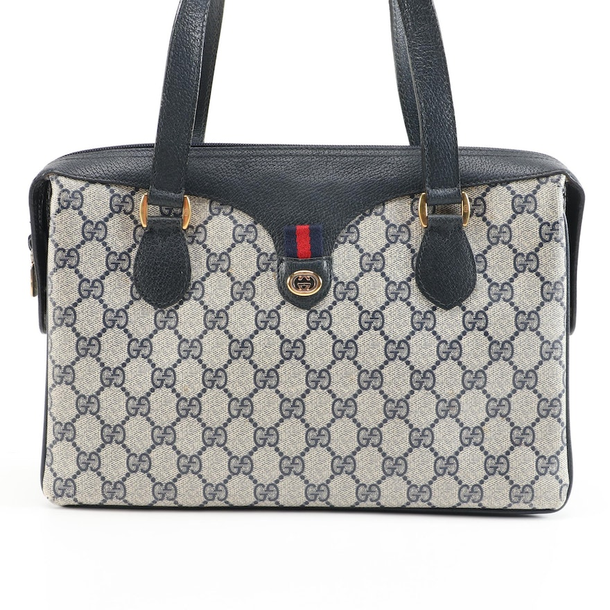 Gucci Accessory Collection GG Supreme Coated Canvas and Navy Leather Handbag