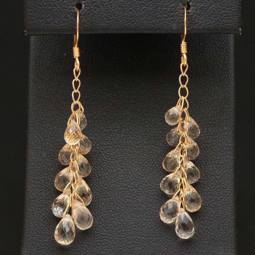 Sterling Silver Citrine Dangle Earrings