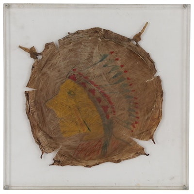 Framed Gouache Painting of Native American Warrior on Drum Head Hide